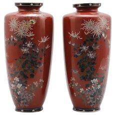 Japanese Antique Pair of Kyo-yaki Enameled Cloisonne Shippo-yaki Vase