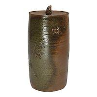 Japanese Vintage Shido -yaki Pottery of Hoso-Mizusashi by Takara Ishihara