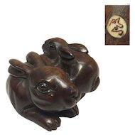 Japanese Vintage Wood Netsuke 根付 Pair of Rabbits