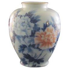 Japanese Vintage Large Size Arita Fukagawa-seiji 深川-誠司 Peony Vase