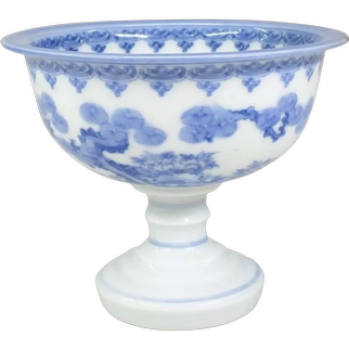 Japanese Antique Meiji Fine Hirado porcelain Pedestal bowl or Haisen with Karako and Butterfly Design