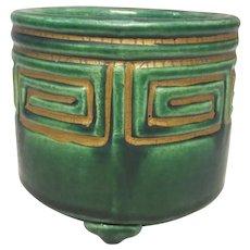 Japanese Vintage Raku yaki Pottery Green and Gold Small Incense Burner