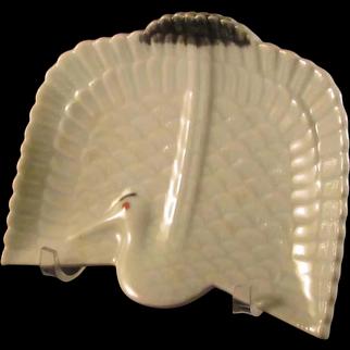 Vintage Japanese Showa Period Seto -yaki Porcelain Unusual Celadon Dish of a Crane by Sunpou