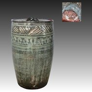 Japanese Kyoto Ware Pottery Mizusashi or Canister with Decoration of Nakaoki