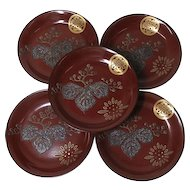 Japanese Antique Set of Five Meimei-zara Dish with Mother of Pearl