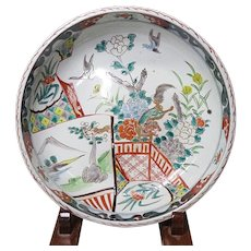 Japanese Antique Ko-Imari Large Karajishi-Botan Bowl 唐獅子牡丹 - - Red Tag Sale Item