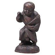 Japanese Antique Bizen Pottery Statue or Ornament Gonbei 農家