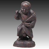 Japanese Antique Bizen Pottery Statue or Ornament Gonbei 農家