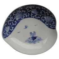 Fine Antique Japanese Hirado 平戸 Shell Shaped Plate by  Potter Zuishoudo