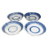 Antique Japanese 瀬戸 Seto Set of Blue and White Porcelain Tea or Small Plates with Kiku