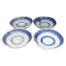 Antique Japanese 瀬戸 Seto Set of Blue and White Porcelain Tea or Small Plates with Kiku