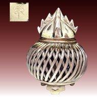 Japanese Mino Ware Pottery Unusual Open Work Koro of Hōju 宝珠 the Wish Granting Jewel