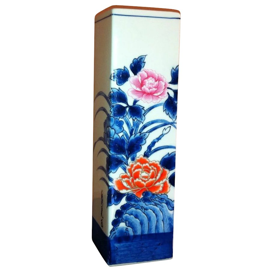 Japanese Vintage Tall Floral Square Sleeve Vase The Many