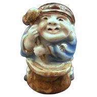 Japanese  Antique Hirado Porcelain  Ornament or Figurine of a Daikoku 大黒