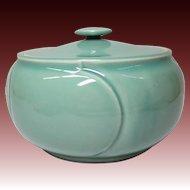 Japanese Contemporary Seto Ware  瀬戸 Porcelain Mizusashi or Box by Master Potter Kato Gozan 加藤五山