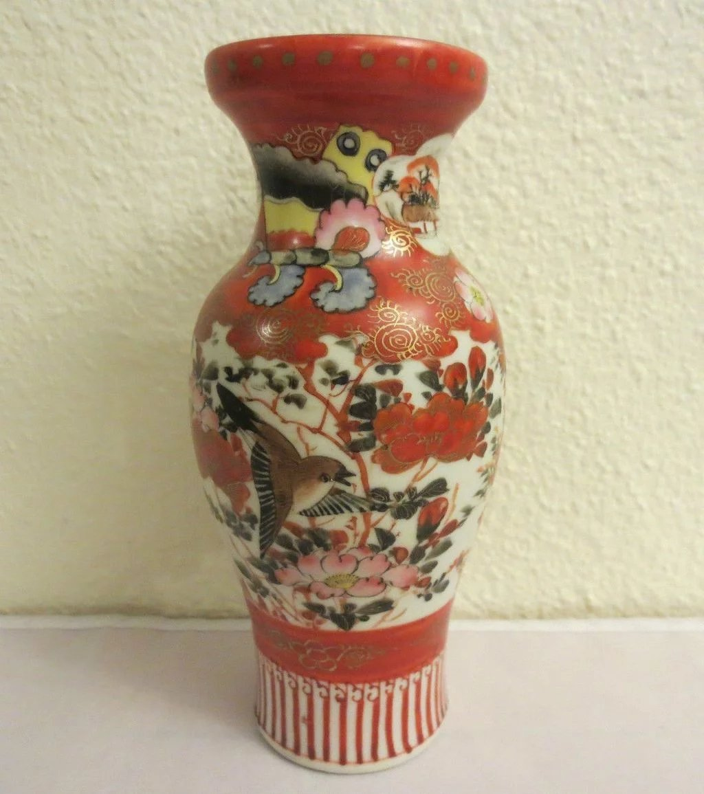 Antique japanese colorful kutani porcelain vase birds and flowers click to expand reviewsmspy