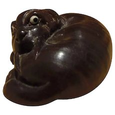 Lovely  Japanese Dark Wood Vintage Netsuke of a Tiger Signed