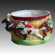 Japanese Early 20th century Tea Cup of Horse Riders by Maruyama Toki Yamashiro Ryuhei