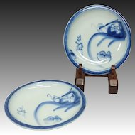 Antique Japanese Imari 伊万里  Pair of Plates with Dharma and Koumori or Bats