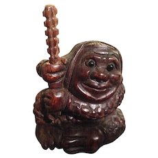 Japanese Vintage Wood Netsuke Man with a Staff