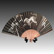 Japanese Vintage Bamboo Sensu or Folding Fan with Tiger Painting