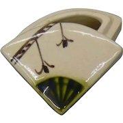 Japanese Vintage Oribe Pottery  織部焼 Kogo of a Sensu or Folding Fan