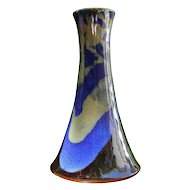 Exquisite Japanese or Chinese Tall Blue, Black and Gold Vase
