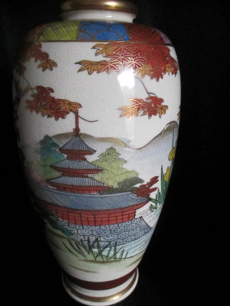 Japanese Vintage Satsuma Pottery Vase Colorful Birds And Gold Gilt The Many Faces Of Japan