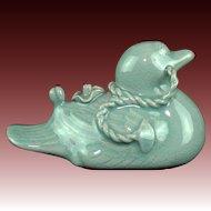 Korean Vintage Kansei Ware Celadon Porcelain Suiteki or Calligraphy Water Dropper of a Duck