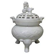 Japanese Antique Hirado Porcelain Koro with Shishi Lion Finial and Elephant Tripod Legs