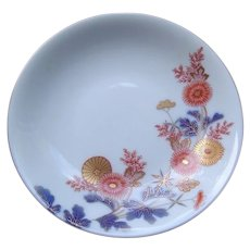 Japanese Antique Porcelain Footed Dish with Chrysanthemum by Fukagawa -Seiji Co 深川製磁