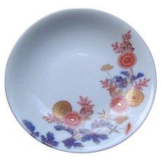Japanese Vintage Porcelain Dish with Chrysanthemum by Famous Fukagawa -Seiji Co 深川製磁