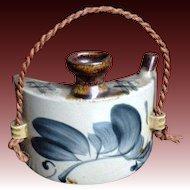 Japanese Vintage 壺屋焼き Tsuboya-yaki Pottery of a Sake Hip Flask