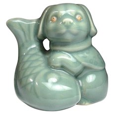 Lovely Japanese Vintage Celadon Pottery Okimono or Ornament Statue of a Dog and a Fish - Red Tag Sale Item
