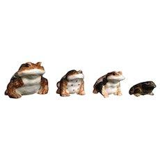 Japanese Vintage Hirado Glazed Porcelain Frogs, Frog (A)