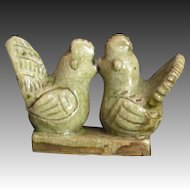 Vintage Thailand Sawankholak Celadon Marriage Rooster Votive Figure