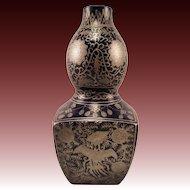 Japanese Vintage Kutani-yaki Porcelain Large Vase by famous Matsuyama 松山窯 Kiln in Eiraku Style