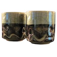 Japanese Vintage Soma-yaki Pair of Double- Walled Teacups