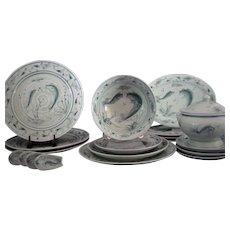 Fine Vietnamese Celadon Porcelain Dining Set 'Koi in Pond' Service for Four