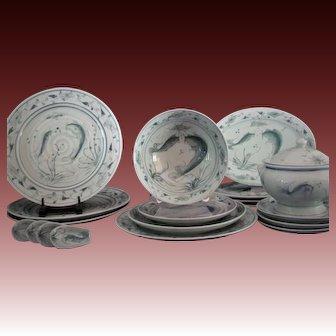 Fine Celadon Porcelain China Dining Set 'Koi in Pond' Service for Four