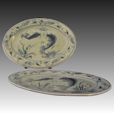 Fine Celadon Porcelain China Japanese Koi in Pond Platters Two, Each