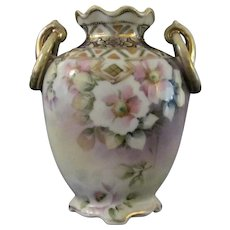 Japanese Antique Nippon Porcelain Vase Pink Flowers on Lilac, original 'M' mark