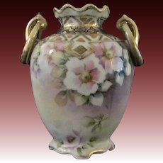 Japanese Antique Nippon Porcelain Vase Pink Flowers on Lilac, original 'M' mark