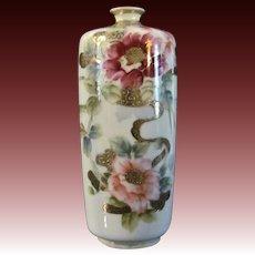 Unusual Japanese Antique Nippon Porcelain Bud Vase Roses on Lilac