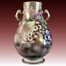 Japanese Nippon Antique Porcelain Baluster Vase Prunus Flowers
