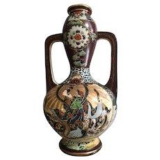 Large Japanese Antique Awata Kyo-yaki Satsuma Pottery Vase