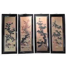 Chinese Vintage Four Panel Wall Screen Fine Carved Stones Four Seasons