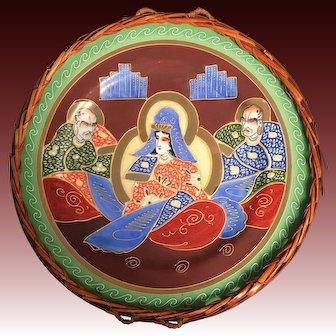 Japanese Vintage Large Decorative Satsuma Dish of Goddess Kannon