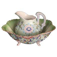 Japanese Antique Awata Kyo-yaki Satsuma Enameled Porcelain Water Pitcher and Basin Takeuchi-zo 武内造
