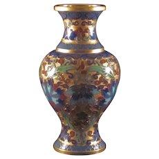 Vintage Chinese or Japanese Brocade Enameled Ground Cloisonne  Inserts Lotus Flower Bottle Miniature Vase